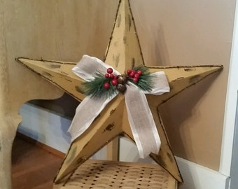 SALE!  Large Resin Barn Star - Burlap bow, faux barbed wire trim.  Rustic Wall decor