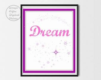 Dream Digital Print | Digital Download, Instant Art, Girls Bedroom Art