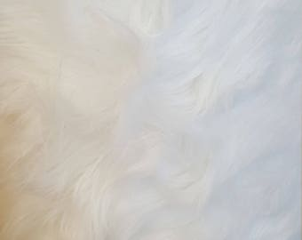 PRE CUT***Shaggy Luxury Faux Fake Fur Fabric (White)