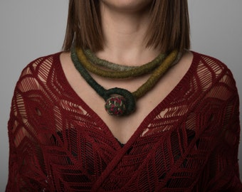 Designer Wrap Necklace, Skinny Wrap Necklace, Green Knotted NecklaceBoho hippie necklace,Bohemian Jewelry, Multiform Necklace, Ethic Jewelry