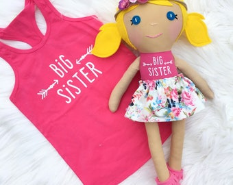 Big Sister Doll, Custom Doll With Matching Shirt, Big Sister Shirt, Big Sis Outfit, Big Sister Gift, Toddler Girl Gift, Easter gift