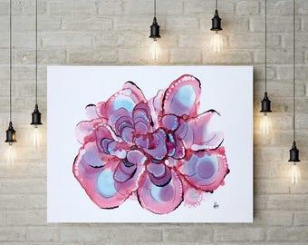 Original Pink Blue Flower Abstract Modern Art