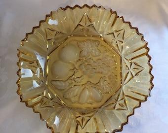 Vintage marigold glass fruit bowl