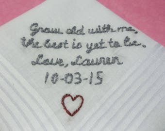 reserved for ALEX/  bride to groom, grow old with me, grey and burgundy, hand embroidered, wedding handkerchief, wedding colors welcome, gro