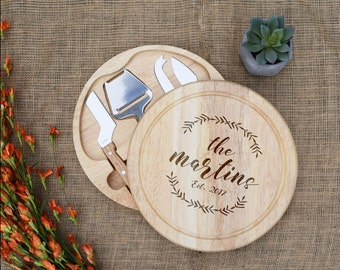 Personalized Cheese Board, Custom Cutting Board, Laser Engraved, Swivel Style w/ Cheese Tools, Wedding Gift, Bridal Shower, Housewarming