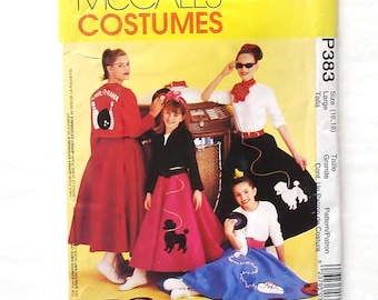 McCall's Misses' Adult 50's Costume Pattern #P383/8899 - UNCUT/FF - Sz L(16-18) - Circle Skirt, Top, Jacket w/Appliques and Scarf