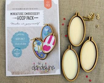 3 pack of 3.4 x 6. cm Oval embroidery hoops, vertical Dandelyne hoops.  Multi buy bundle