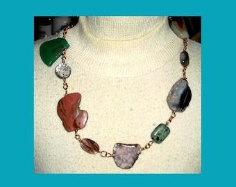 Multicolor Stone Slabs Necklace