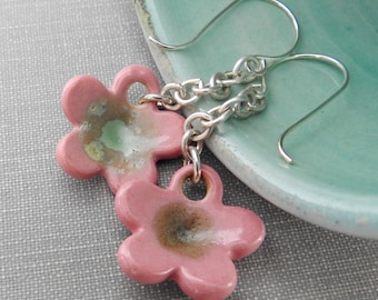 Ceramic Earrings, Silver Earrings, Pink Earrings, Clay Earrings, Pink Flowers, Ceramic Charms