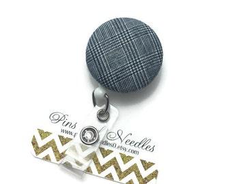 Fabric ID Badge Reel - Retractable Badge Reel - Cute Id Badge Reels-Fabric Badge Holder -Fabric ID Badge Reel - Gray Fabric ID Badge Reel