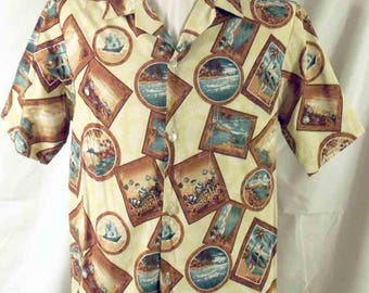 Vintage 1970s Aloha Men's Cotton Shirt Made in Hawaii Framed Pictures of Island Themes Print