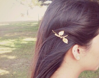 Leaf Branch Bobby Pin Gold Bridal Hair Clip Nature Botanical Bridesmaid Rustic Woodland Wedding Accessories Vintage Style Unique Womens Gift