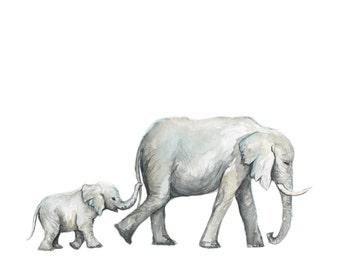 Elephants No 2 Art Print - Elephant painting - elephant - baby elephant - safari animals - animal print - baby room - watercolor - Baby Room