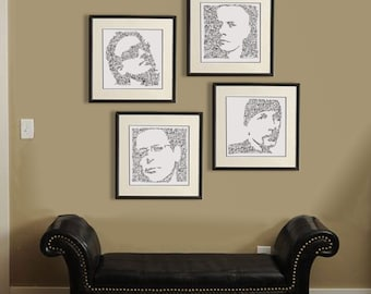 U2 - Set of 4 Prints (limited edition) - Bono / The Edge / Larry Mullen Jr / Adam Clayton - intricate Doodle portrait - poetry drawing