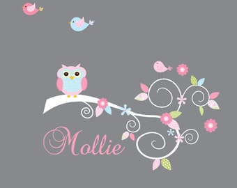 Wall Decal-Branch decal with Flowers Name Owl Birds-Nursery Wall Decals-e115