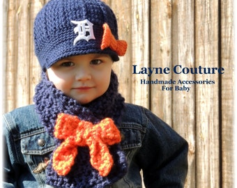 The Original- Girls Detroit Tigers Crochet Newsboy Hat with Old English D Patch and bow with Matching Scarf / Tiger Baby