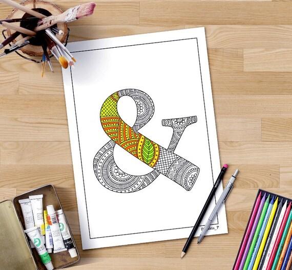 Zentangle Alphabet Erwachsenen Färbung Seite \'&\'