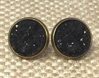 Black Druzy Earrings - Druzy Jewelry - Drusy - Stud Earrings - Black Jewelry - Formal - Goth - Earrings - Bridesmaid Gift - Trend Jewelry -