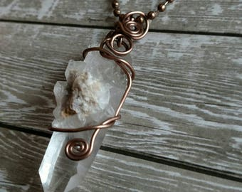 Quartz Necklace - Quartz Point Necklace - Wire Wrapped Necklace