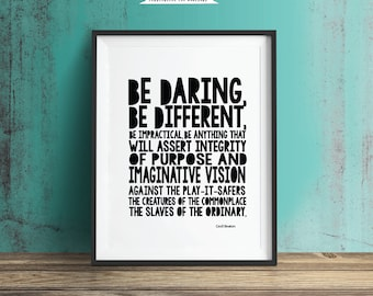 Be Different, Printable Art, Inspirational Quote, Typography Art, Digital Prints, Black and White Art, Wall Art Prints, Digital Download
