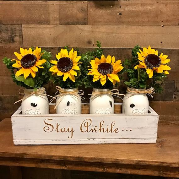 Mason Jar Sunflower Centerpiece, Mason Jar Centerpiece, Wood Box with Mason Jars, Farmhouse Table Centerpiece, Wood Box with Jars, Custom