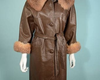 Vintage 60s Brown Leather Coat Fur Collar + Cuffs, Mod Loose Fit + Matching Belt