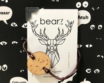 Wooden bear Origami bracelet