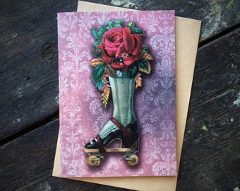 Valentines Gothic Wiccan Witchcraft, Vintage Rollerskate Rose Floral Love Spell, Christmas,Mothers Day, Luxury greeting card.