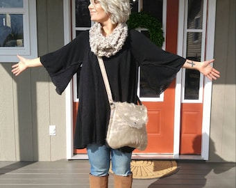 Gorgeous soft champagne cowhide crossbody bag!