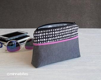 Bracelet pochette - cadeau préados - petit sac à main gris - voyage trousse à maquillage - cadeau pour Designer - petite maison sac à main - trousse - prêt à expédier