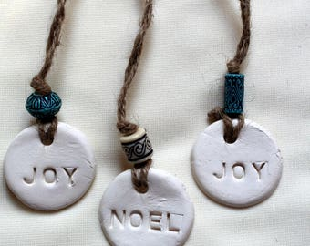 White Clay Gift Tags, Noel Gift Tag, Joy Gift Tag, Noel and Joy White Clay Party Favors, Joy or Noel White Clay Ornament