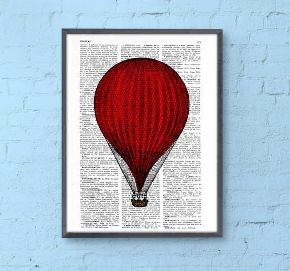 Red Hot Air Balloon Print, Wall art Dictionary Print, Balloon Illustration art decor wall hanging nursery art TVH080
