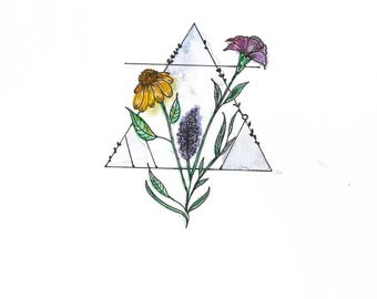 Triangle Flowers - Color Print