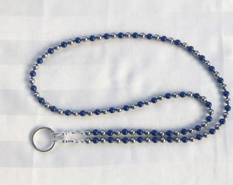 Blue and Gray ID Badge Lanyard Swarovski Pearl Beaded Lanyard Necklace ID Badge Holder