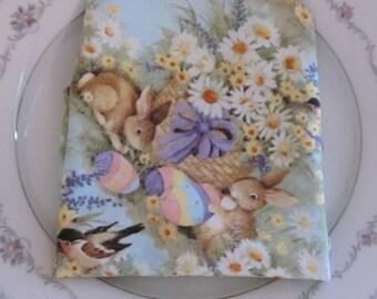 Easter Napkin Set of 2 -Large Easter Napkins - Easter Table Linens - Spring Table Linens - reversible cloth napkins