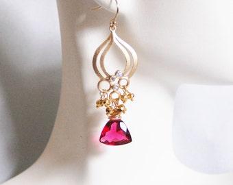 Cluster Earrings - Chandelier Earrings -Hot Pink Quartz And Gold Pyrite Chandelier Dangle Drop Earrings
