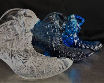 Three Fenton Glass Cat's Head Shoe Slippers - Daisy and Button and Hobnail Design