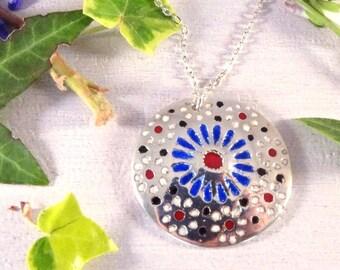 ENAMEL (Enameled Silver Art Clay) fine silver pendant