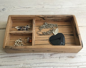Wooden jewelry tray, box, handmade, spalted beech, unique, oddments, organiser, valet tray, catch all, desk tidy, storage, gift, makeup