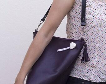 Cherry, purple genuine leather shoulder bag hand