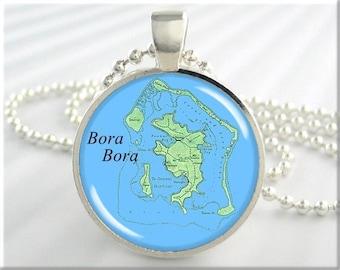 Bora Bora Map Pendant, Bora Bora Island Map Necklace, French Polynesia, Gift Under 20, Picture Jewelry, Round Silver 647RS