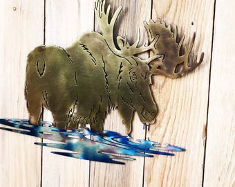 Moose Dipping Metal Art