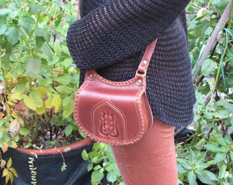 Small crossbody bag, small bag, genuine leather bag, leather bag, embossed and laced bag, travel bag