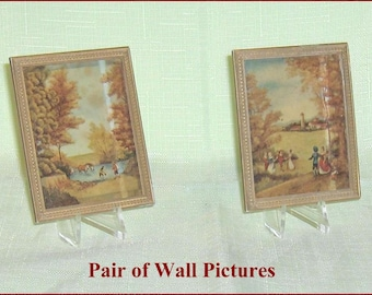 SPECIAL SALE   Pair of  Scenic Wall Pictures  Vintage Petite Princess Dollhouse Accessory Items