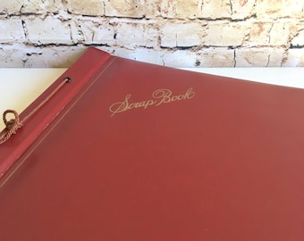 Antique Dark Red Scrapbook Photo Album Book for Photographs and more Tan Pages - Ready to fill! Empty Blank Classic