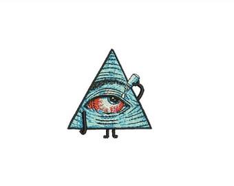 "3"" Bloodshot EYE Pyramid iron-on Patch Hangover Providence Cute Hipster Hippie Trendy Bohemian Boho SJW Kawaii Hypnotic Curiosity Curios"