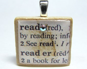 Read - vintage dictionary Scrabble tile with Swarovski crystal - great teacher gift