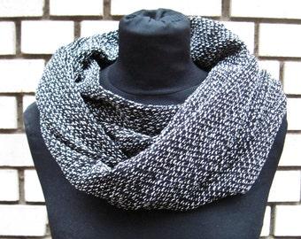 """knitted Loop-Scraf, Scarf, Shawl """"black & white"""", light knitted scarf in black and white bouclé look"""