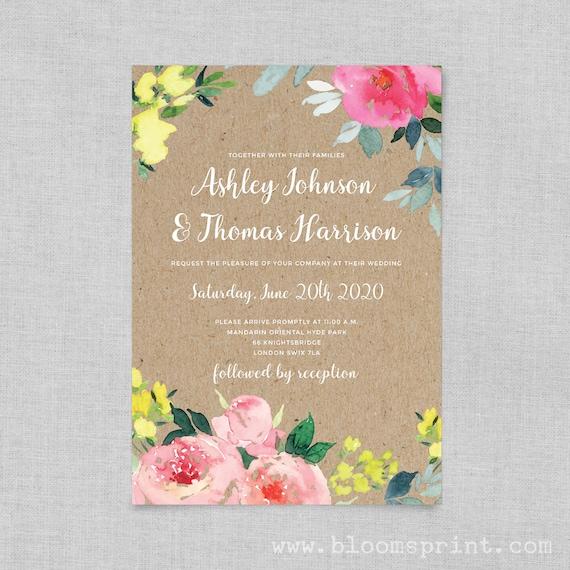 Boho rustic wedding invitation template, Rustic wedding invite, Rustic country wedding invitation printable, DIY printable invitation kits