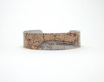 Cuff Bracelet New Orleans NOLA Louisiana Map Unique Gift for Coworker Teacher Friend